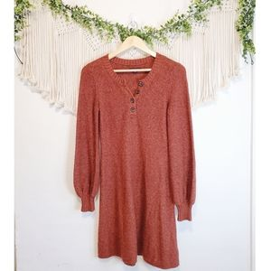 AMERICAN EAGLE Red Knit Long Puff Sleeve Button Front Mini Sweater Dress sz S